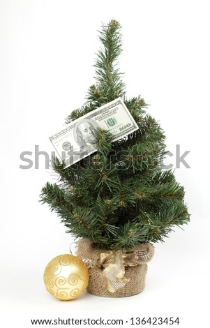 Christmas tree dotted with American dollars