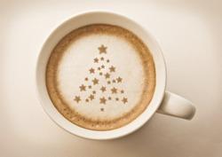 christmas tree , drawing on latte art coffee cup
