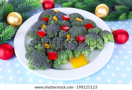 Christmas tree from broccoli on table close-up