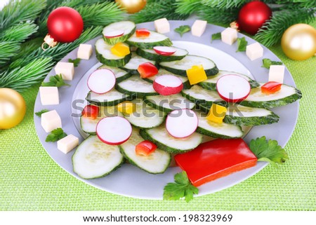 Christmas tree from cucumber on plate on table close-up