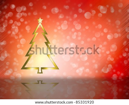 christmas tree from gold carved metal on glowing light wall background