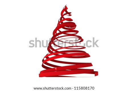 Christmas tree from ribbons isolated on white background