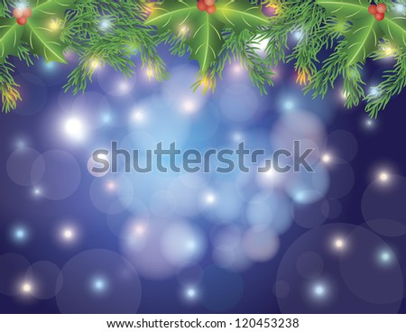 Christmas Tree Garland Decorated with Holly Berries and Lights on Bokeh Circles and Blurred Background Illustration Raster