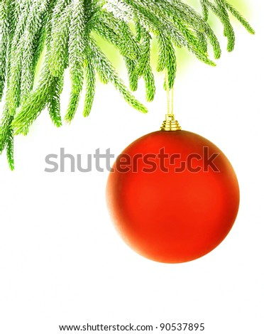 Christmas tree green border with big red hanged bauble, traditional ornament and decoration for winter holidays, isolated on white background