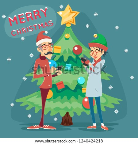 Christmas Tree Happy Smiling Male Female Geek Hipster Symbol Online Mobile Chat Icon Stylish Background Retro Cartoon Design  Illustration