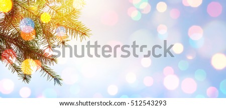 Christmas tree; Holidays background with Xmas holidays light