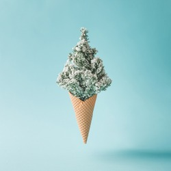 Christmas tree ice cream. Winter holiday concept.