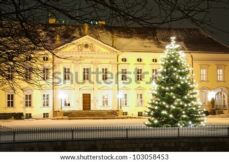 Christmas tree in front of bellevue palace in winter at night in Berlin, Germany