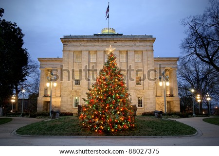 Christmas tree in front of the Capitol in Raleigh, North Carolina