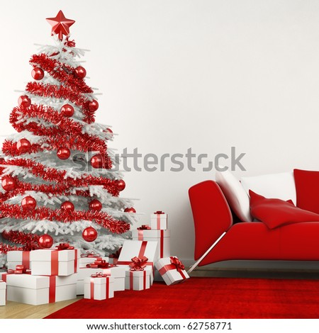 christmas tree in modern interior all in white and red colors