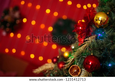 christmas tree in red lights and oranges #1231412713