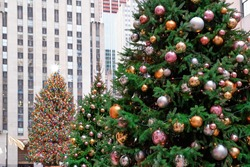Christmas Tree in Rockefeller Center, New York, USA - Christmas Holidays Background