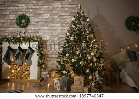 Photo of  Christmas tree in the living room, festive interior, soft focus
