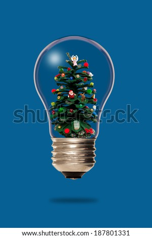 Christmas tree inside a light bulb