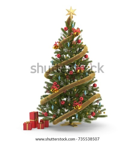 Christmas tree isolated, 3d illustration #735538507