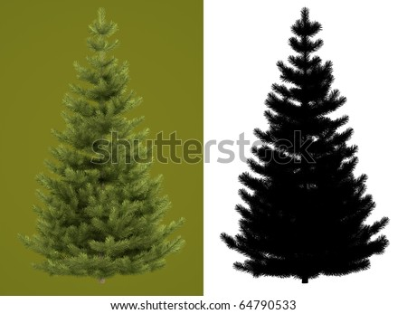 Christmas tree isolated on green background for perfect isolation. Black and white mask