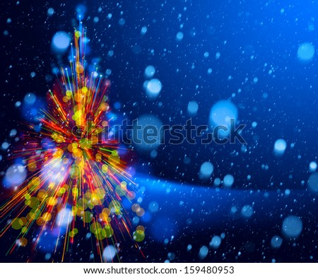 Christmas tree lights on snowy sky background