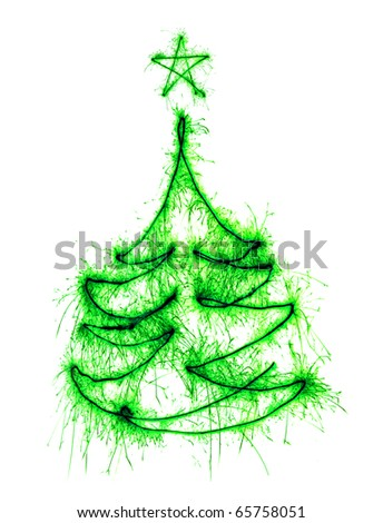 Christmas tree made by sparkler on a white background