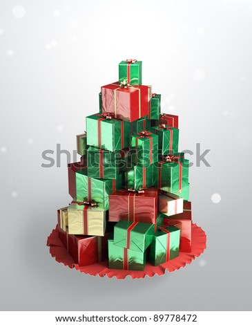 Christmas tree made from a gifts. Mountain of colorful gift boxes on a gray background.