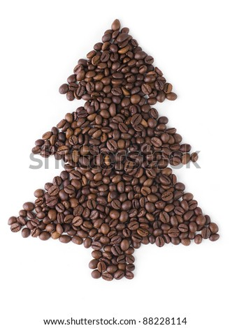 Christmas Tree  made from coffee beans. - stock photo