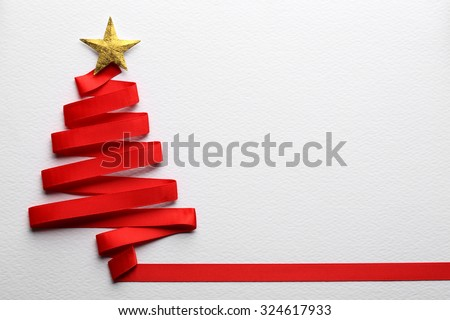 christmas tree made from ribbon