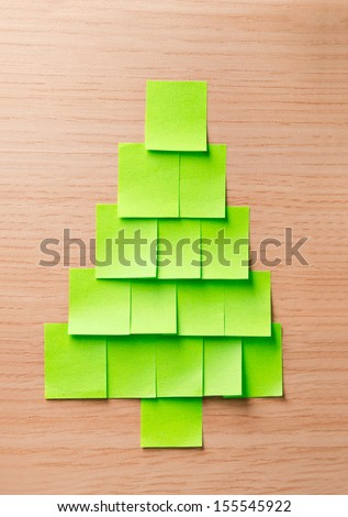 Christmas tree made of adhesive note