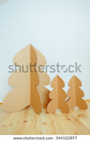Christmas Tree Made Of Cardboard. Unique Trees. New Year #344102897