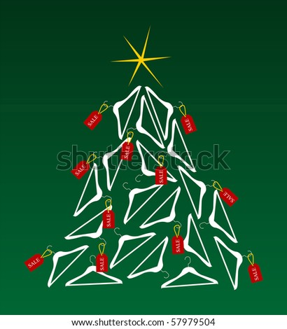 Christmas tree made of clothes hangers ornated with red sale labels