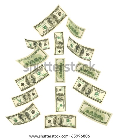 Christmas tree made of falling money isolated on white background