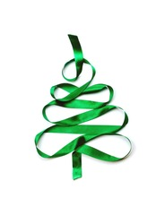 Christmas tree made of green ribbon. Flat lay, concept of holiday time.