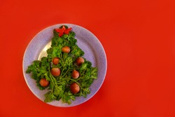 Christmas tree made of herbs and hazelnuts on a plate. New year decor from food. Isolated on a red background. Copy space