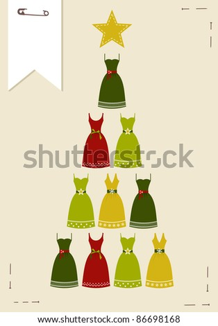 Christmas tree made ??of multicolored dresses with a yellow star on the top on pink background.  Vector file available.