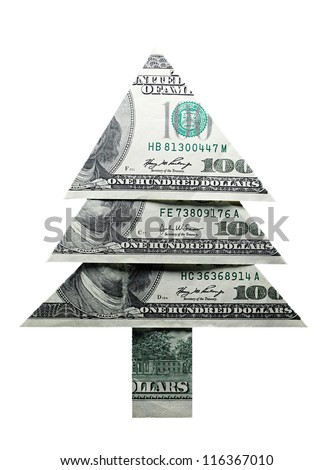 Christmas tree made �¢??�¢??of one hundred dollar bills isolated o