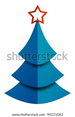 Christmas tree made of paper isolated on white. Clipping path included
