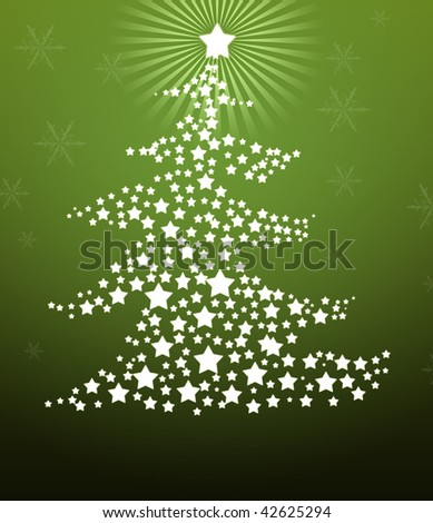 Christmas tree made of stars on green background