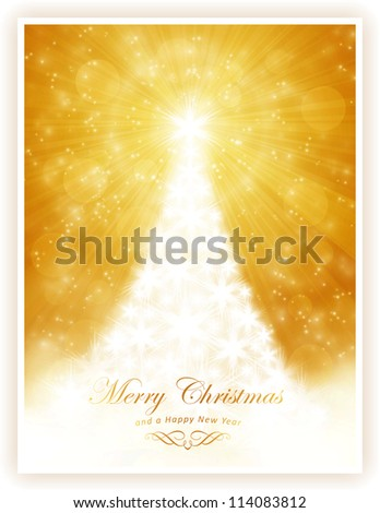 Christmas tree made of white stars on golden light ray background with sparkling lights and defocused light dots. - stock photo
