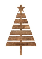 Christmas tree made of wooden for decorating the christmas season. Object with clipping path