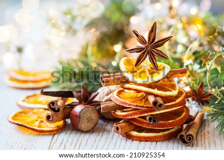 Christmas tree made out of dried oranges,cinnamon sticks and anise star #210925354
