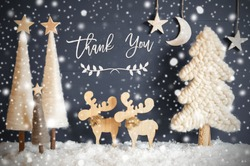 Christmas Tree, Moose, Moon, Stars, Snow, Text Thank You, Snowflakes