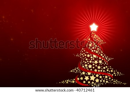 Christmas tree of stars with a red background.