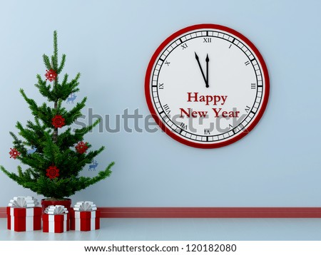 Christmas tree on a blue background and a large clock counts down the final minutes before the new year