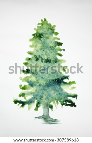 Christmas tree on a white background. The dabbing technique gives a soft focus effect due to the altered surface roughness of the paper.