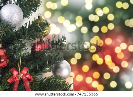 Christmas tree on abstract light golden bokeh background. stock photo
