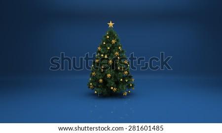 Shutterstock Christmas tree on blue background
