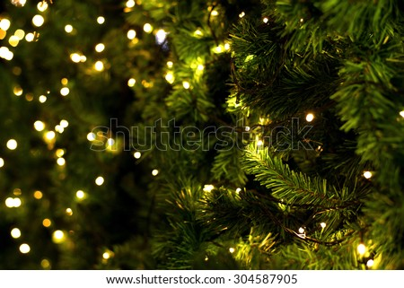 christmas tree on blurred background stock photo