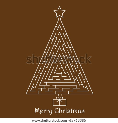 Christmas tree on brown background