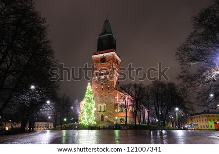 Christmas tree on cathedral square in Turku, Finland
