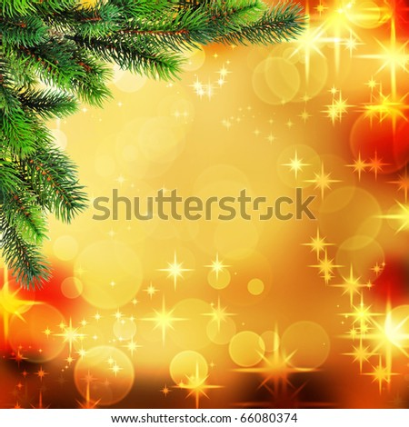 Christmas tree on old paper. Vintage background