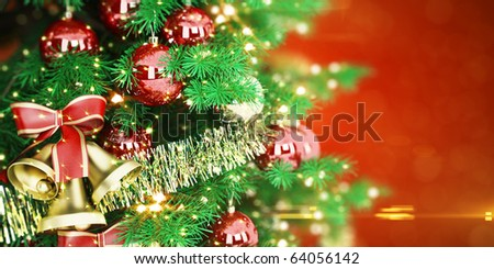 Christmas Tree On Red Background. Great For Postcard