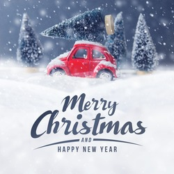 Christmas tree on red car toy with snow, Winter, Merry Christmas holiday celebration and Happy new year concept, copy space, filter effect.